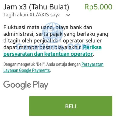 Beginilah Cara Beli Aplikasi Di Google Play Store Dengan Pulsa XL atau AXIS