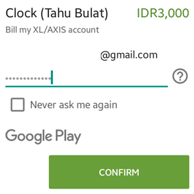 masukan password akun Google Play Store