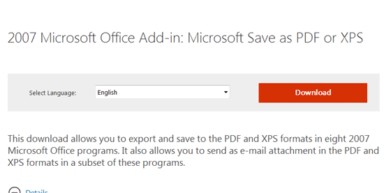 Download 2007 Microsoft Office Add-in: Microsoft Save as PDF or XPS