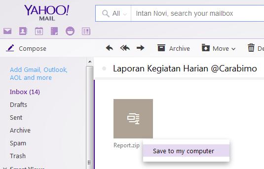 Cara Download Lampiran Yahoo Lewat PC