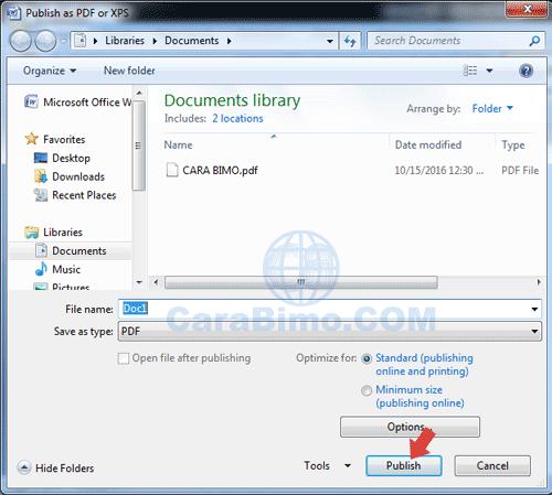 convert file word ke pdf di Word 2007
