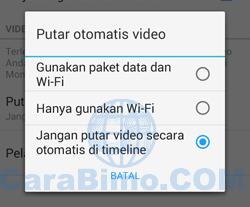Jangan putar video secara otomatis di timeline.