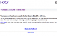 Yahoo! Account Terminated