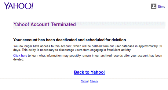 Yahoo! Account Terminated