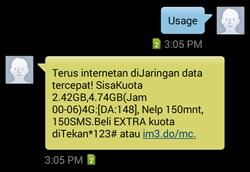 Cek Sisa Kuota Paket Indosat Ooredoo lewat sms