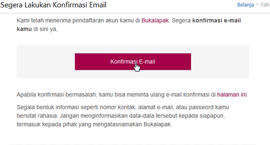 Konfirmasi Email Bukalapak