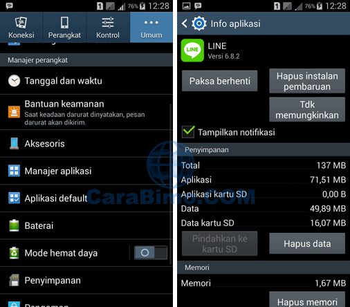 Ganti No Line Pay E-cash Lewat Clear Data Aplikasi LINE
