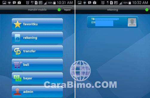 tampilan menu utama aplikasi mandiri mobile