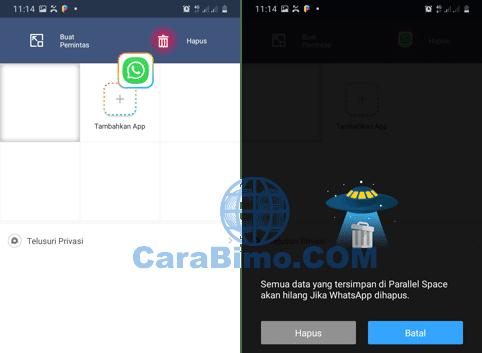 menghapus aplikasi WhatsApp di Parallel Space