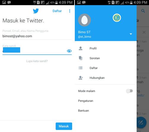 masukan username dan password Twitter