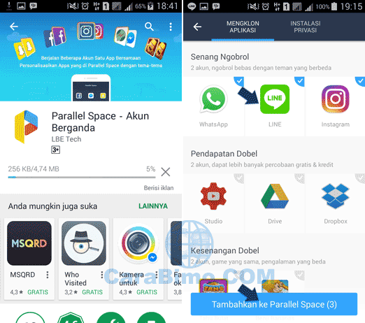 Cara Install 2 LINE Di Satu HP Android Dengan Pararell Space