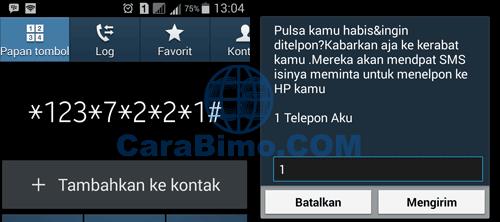 Via layanan telepon aku Indosat