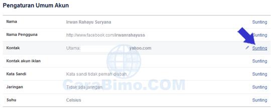 Mengganti Email Utama Facebook
