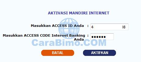 Aktivasi Mandiri Internet Banking
