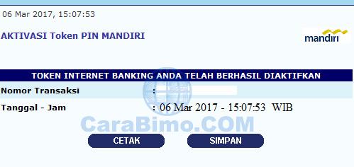 Aktivasi Token PIN internet banking mandiri
