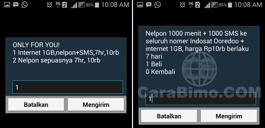 daftar paket Indosat Only For You 1GB