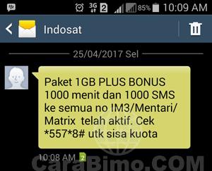 Paket 1GB PLUS BONUS 1000 menit dan 1000 SMS ke semua no IM3/Mentari/Matrix telah aktif