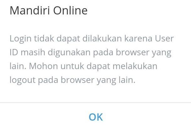 tidak bisa login ke mandiri online di Android