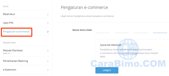 Pengaturan e-commerce