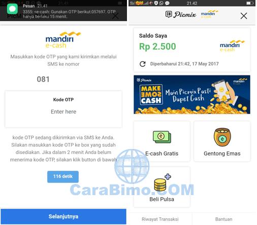 Main PicMix dapat cash dari Mandiri e-cash