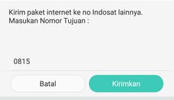 masukan nomor tujuan Indosat IM3, Mentari yang akan dikirim paket sms