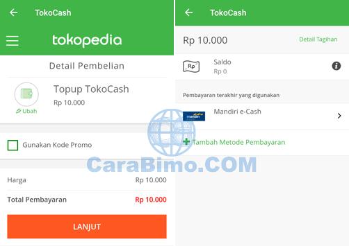 Cara Top Up TokoCash Pakai Mandiri E-Cash
