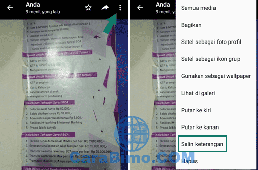 Cara Copy Tulisan Caption Foto WhatsApp