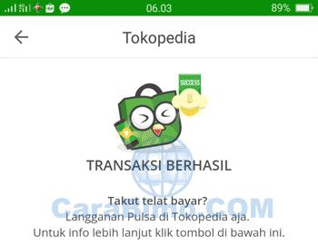 pembayaran Tokopedia dengan kartu debit BTN Visa