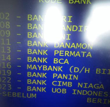 pilih menu Daftar Kode bank