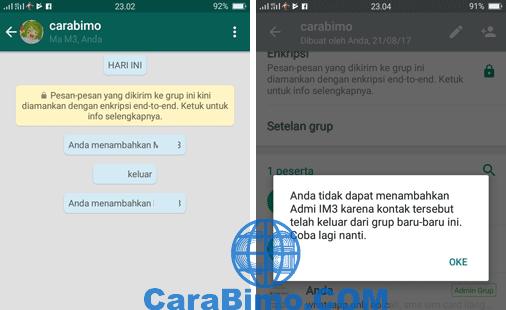 Penampakan Anggota Grup WhatsApp Sudah Keluar Tidak Bisa Langsung Dimasukan Lagi