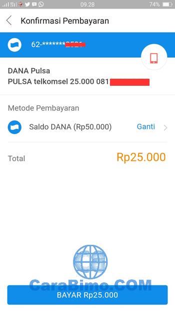 Isi Pulsa Telkomsel Lewat DANA di BBM