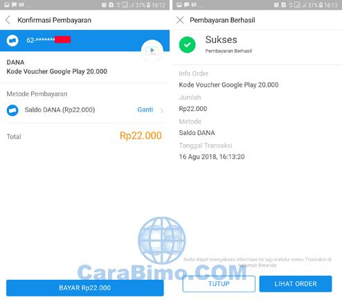 Cara Membeli Voucher Google Play Via BBM DANA