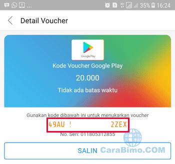 Tap pada Kode Voucher Google Play