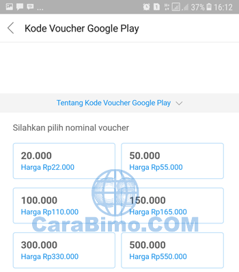 Pilih nominal kode voucher Google Play