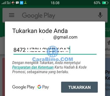 Masukan kode voucher Google Play