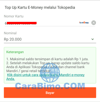 Isi Ulang E-Money Mandiri di Tokopedia