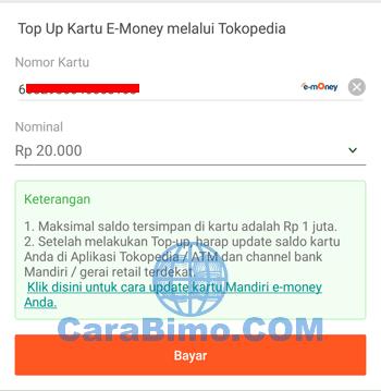 Isi Ulang E-Money Mandiri di Tokopedia