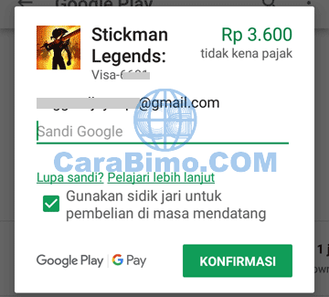 memasukan password Google Play Store