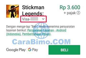 Google Play Store menggunakan kartu debit BTN