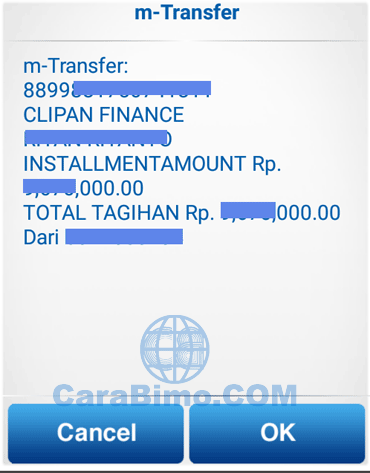 info tagihan berupa nama nasabah clipan finance