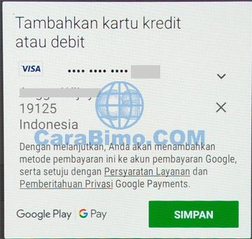 Tambahkan kartu kredit atau debit