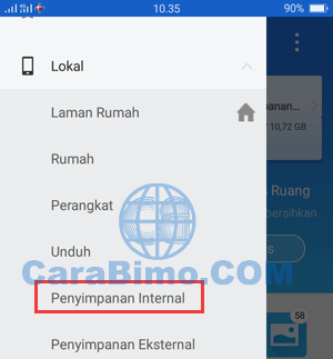 pilih Penyimpanan Internal