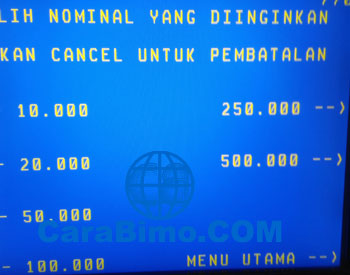 Pilih nominal Top Up