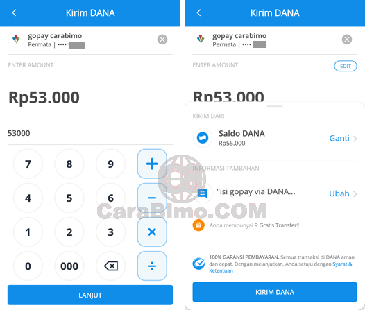 top up Go-Pay lewat aplikasi DANA