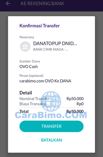 Cara Transfer OVO Cash ke DANA