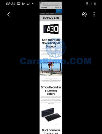 capture full satu halaman di HP Samsung