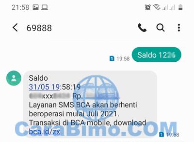 SMS Banking BCA Cek Saldo