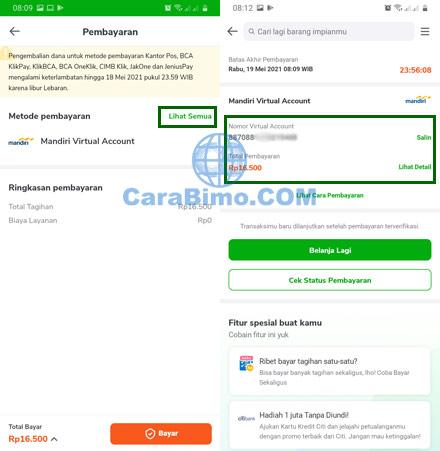 Pilih Metode Pembayaran Tokopedia Mandiri Virtual Account