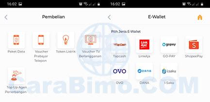 Fungsi Menu E-wallet di BNI Mobile