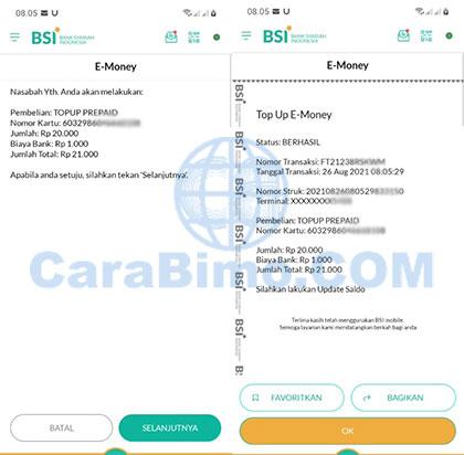 Isi Saldo E-Money di BSI Mobile Berhasil